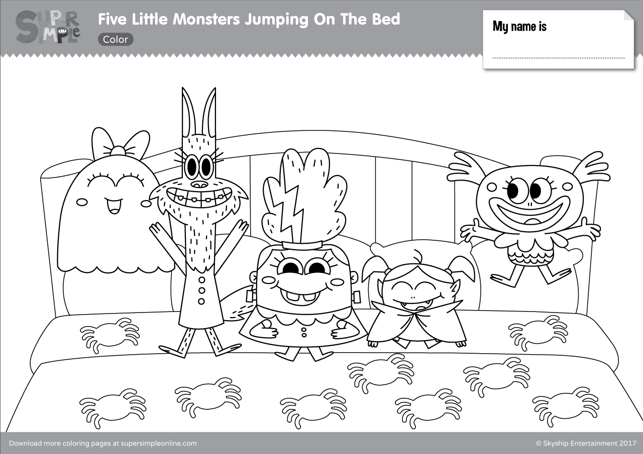 Five Little Monsters Jumping In The Bed Coloring Pages