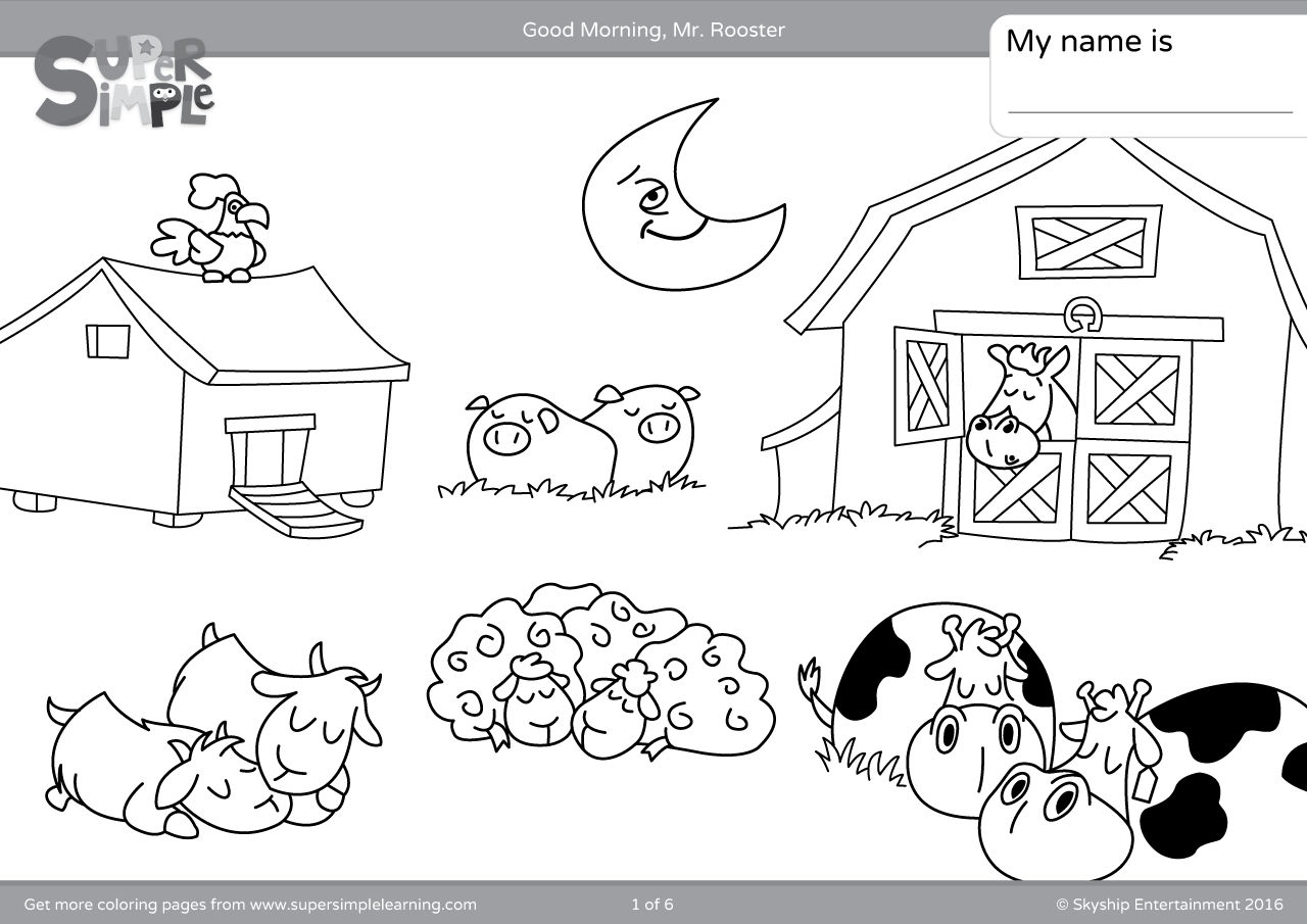 Good Morning Mr Rooster Coloring Pages