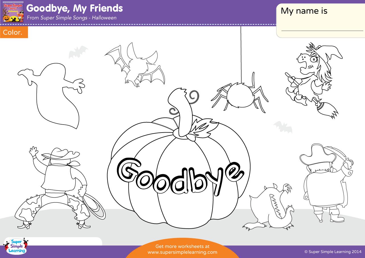 Goodbye My Friends Worksheet
