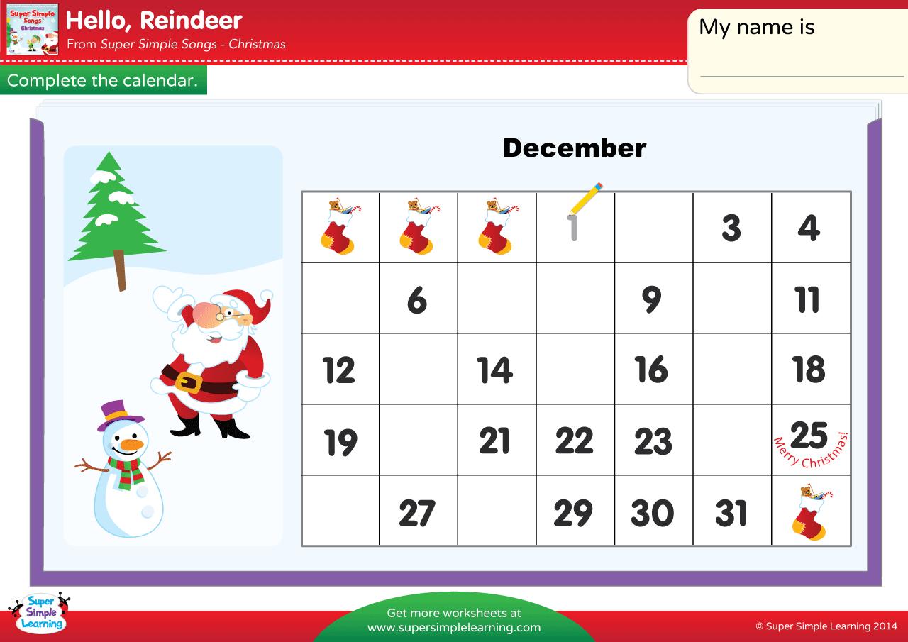 Hello Reindeer Worksheet