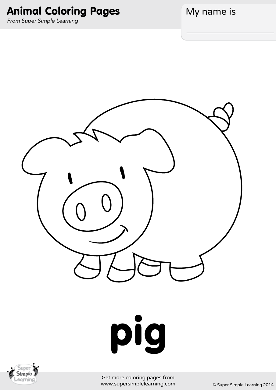 Pig Coloring Page Super Simple