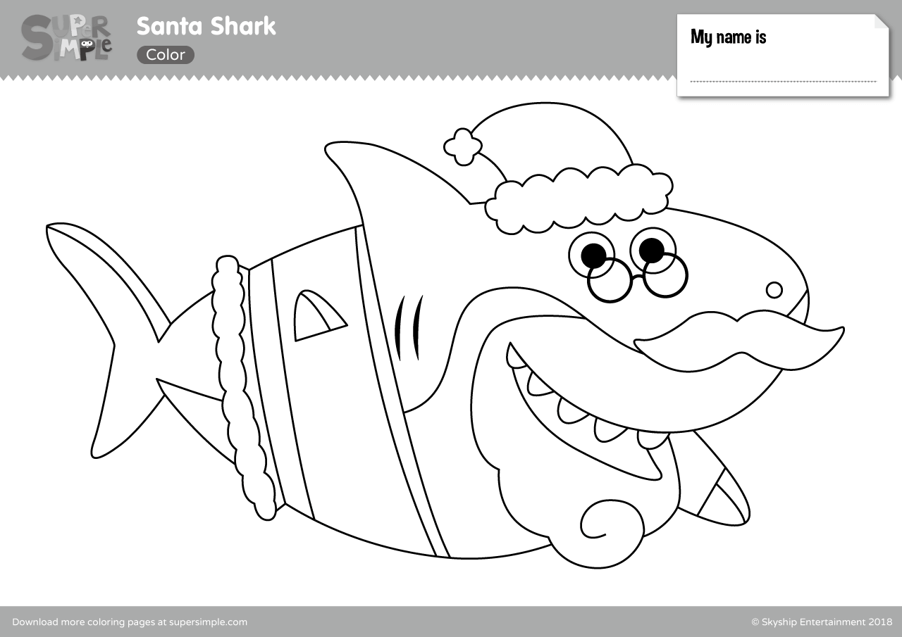 Santa Shark Coloring Pages