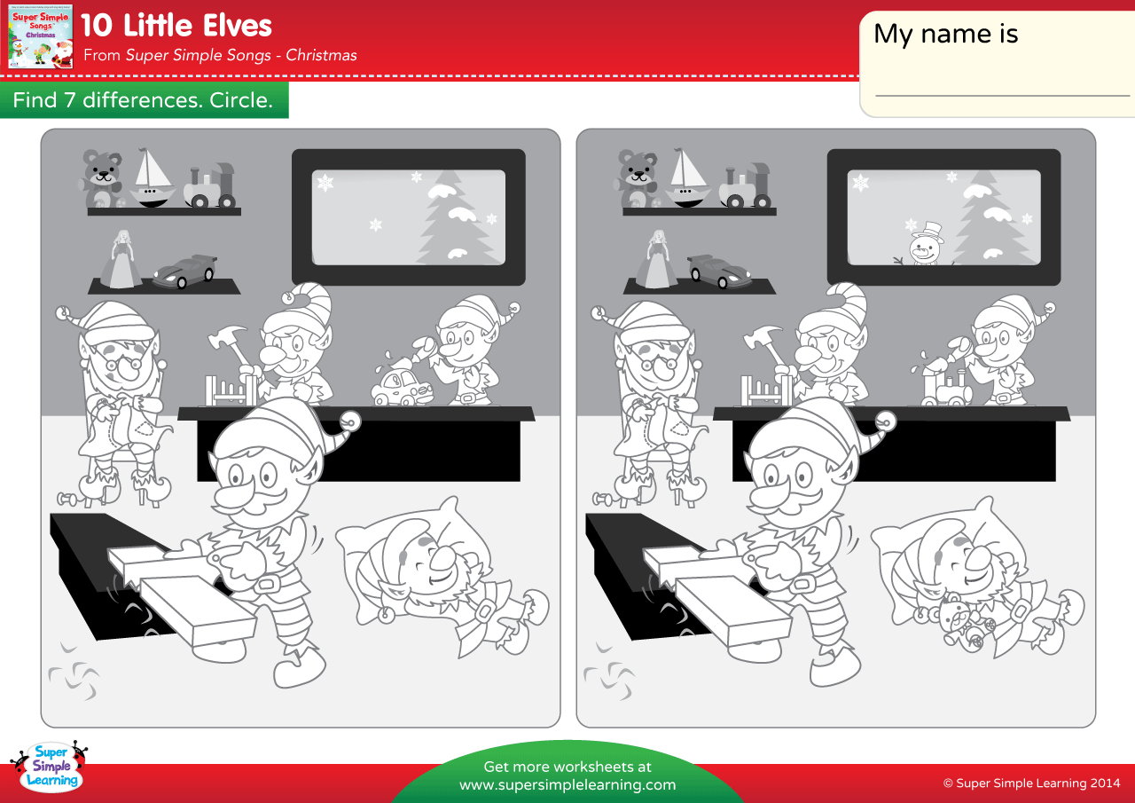 10 Little Elves Worksheet Find The Differences
