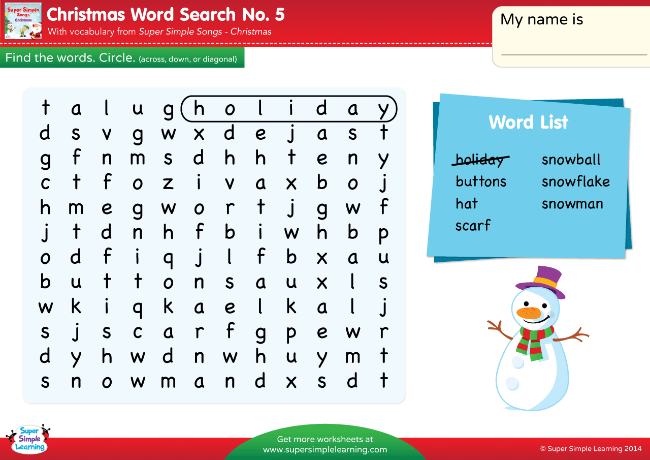 Christmas Word Search 5