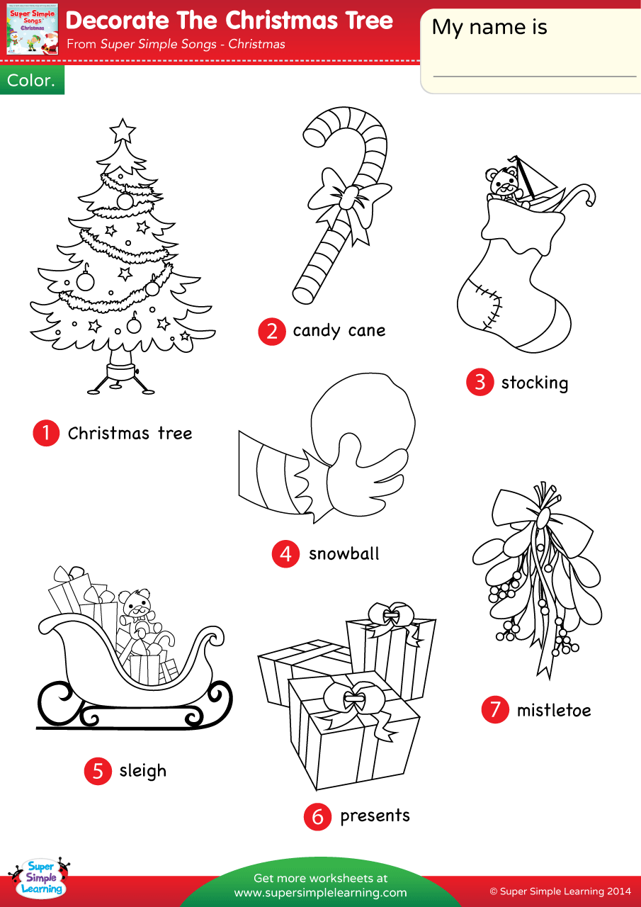 Decorate The Christmas Tree Worksheet Vocabulary
