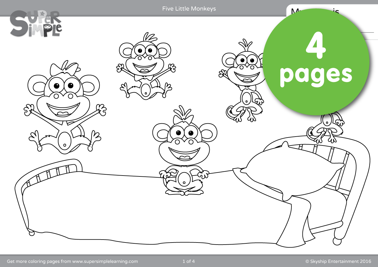 Five Little Monkeys Wash The Car Coloring Page