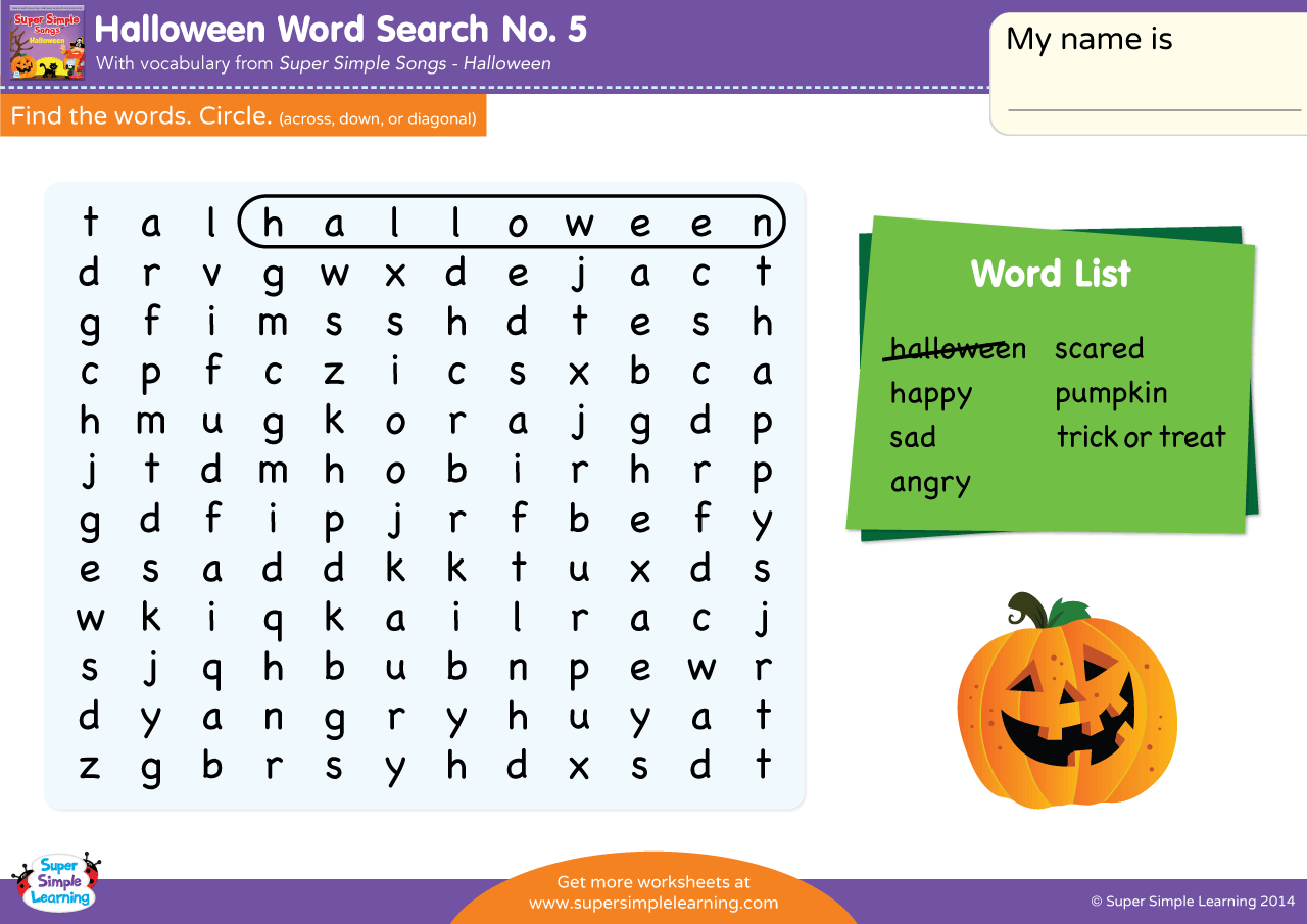 Halloween Word Search 5
