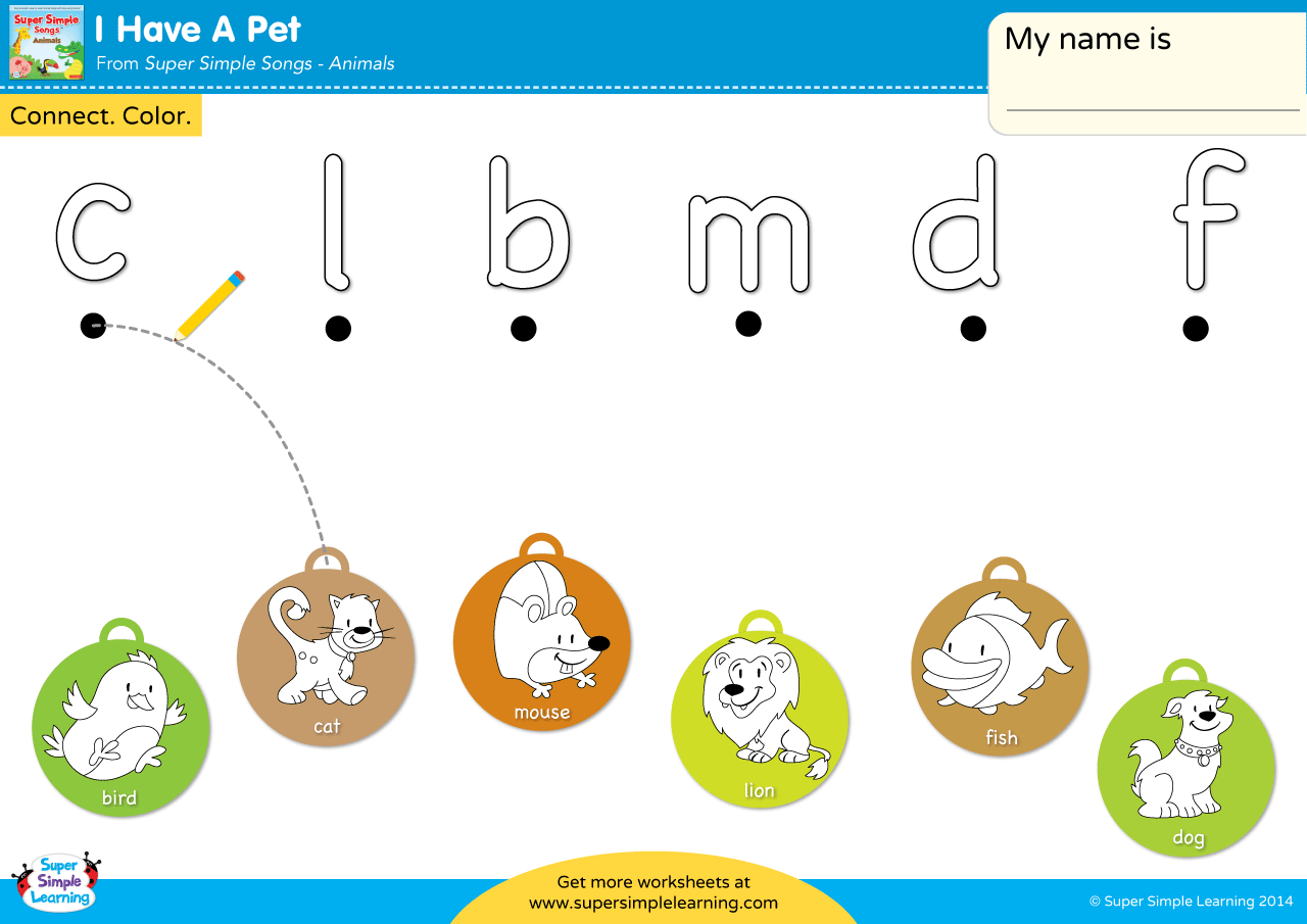 I Have A Pet Worksheet Lowercase Letter Matching