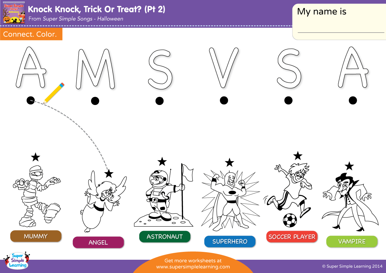 Knock Knock Trick Or Treat Part 2 Worksheet