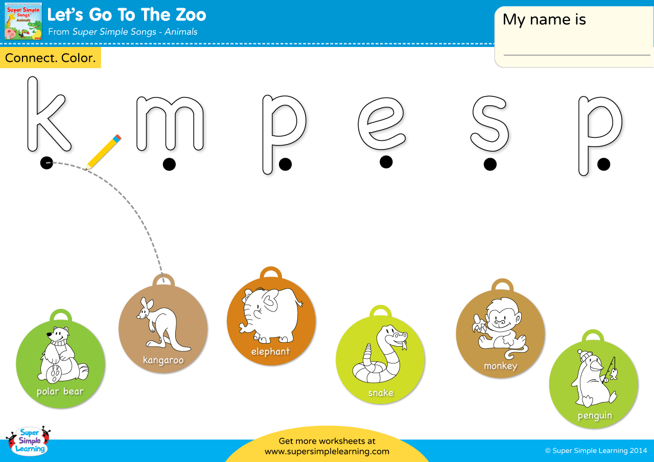 Let S Go To The Zoo Worksheet Lowercase Letter Matching