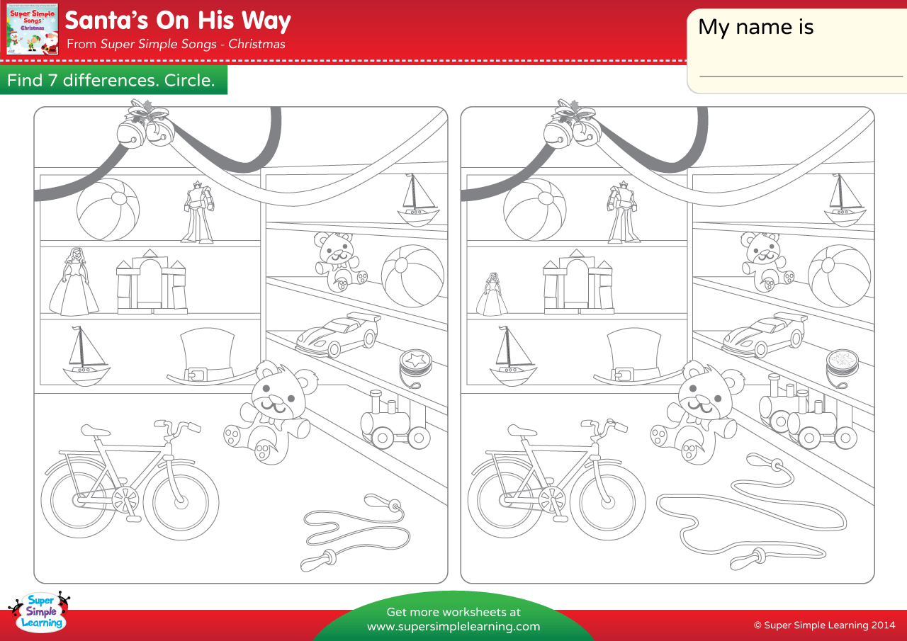 Santa S On His Way Worksheet Find The Differences