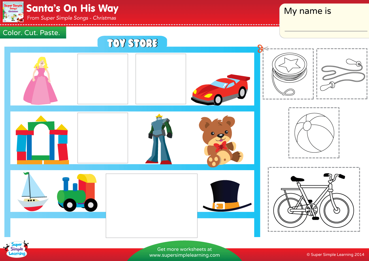 Santa S On His Way Worksheet In The Toy Store
