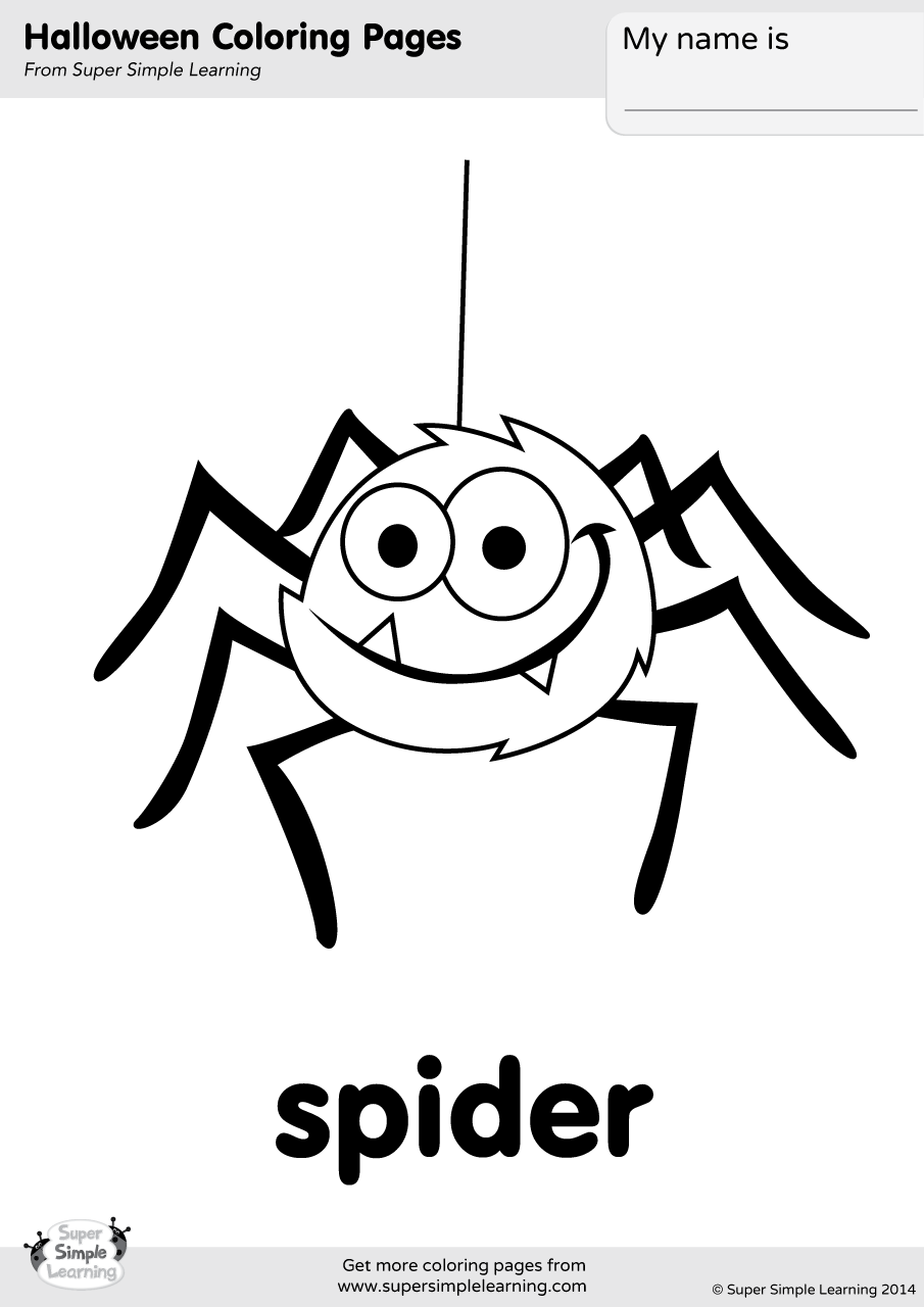Spider Coloring Page Super Simple