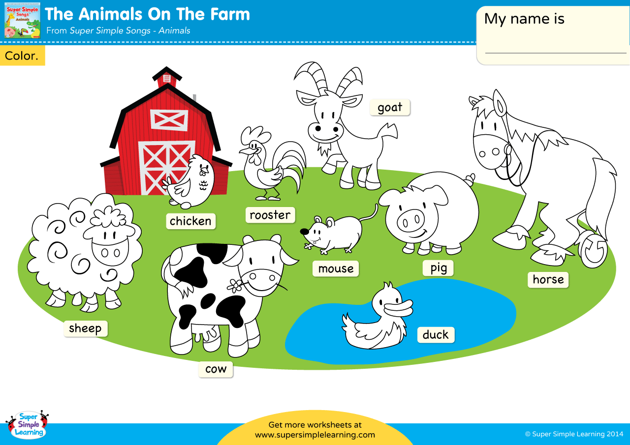 The Animals On The Farm Worksheet Color The Animals