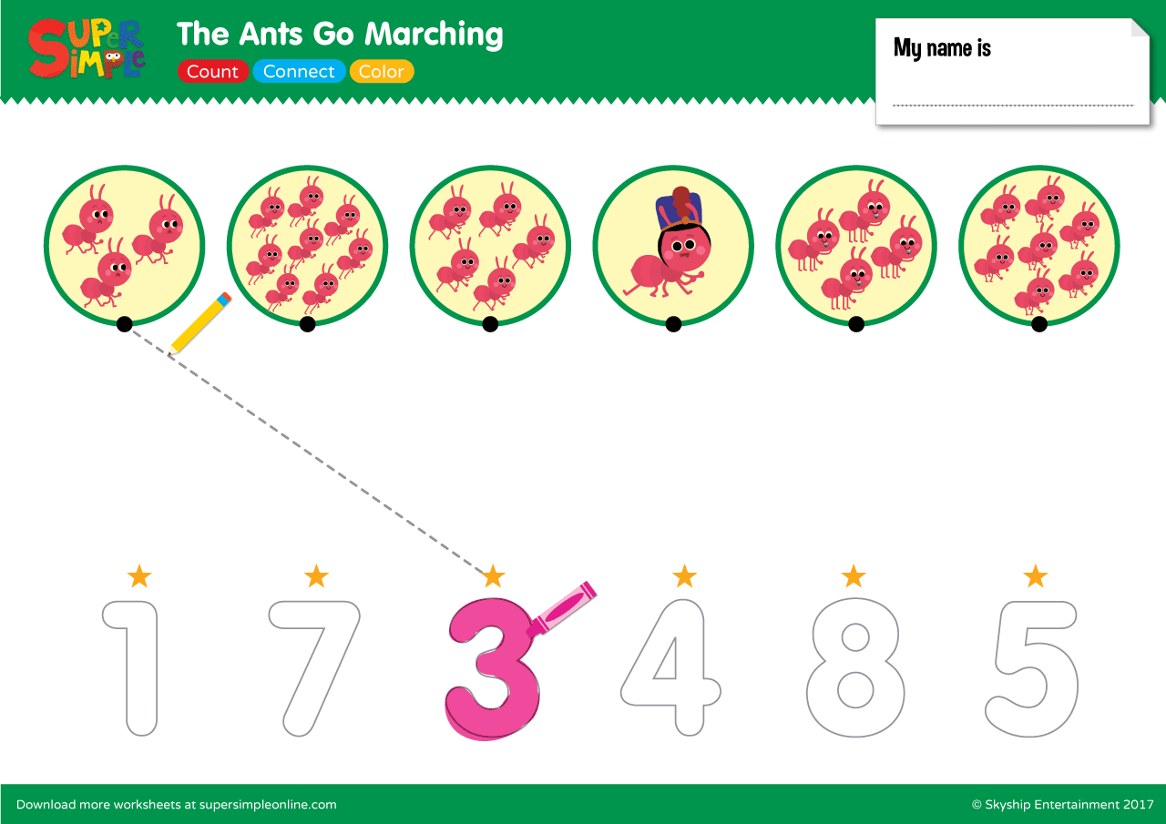 The Ants Go Marching Count Connect Color
