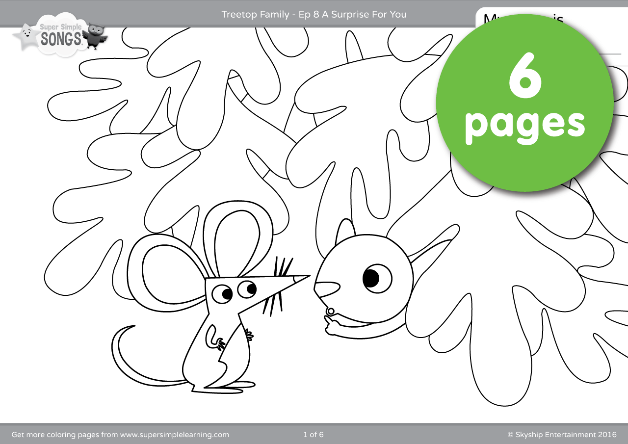 Treetop Family Coloring Pages Episode 8 Super Simple