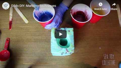 [Image: mixing pigment to pour into a block mold]