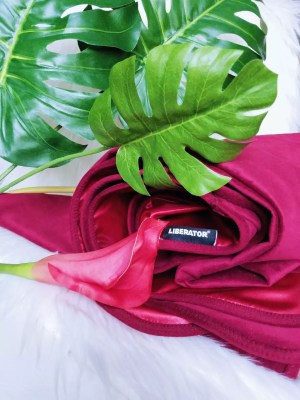 [Image: Liberator Fascinator Throe Velvish Throw in red / burgundy / merlot]