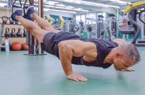 Older man. TRX Suspension training. Bodyweight Workout. Super Soldier Project.
