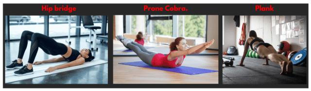 Core strengthening. Hip Bridge. Prone cobra. Plank exercise. Abs exercise.
