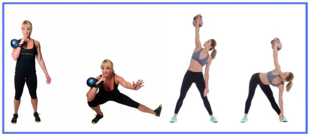 Whole Body workouts. Cossack squats. Kettlebell exercises. Windmill exercise
