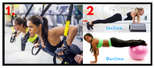 TRX Chest Press. Incline Pushups. Decline Push ups. Chest exercises for women. Gym workouts for women.