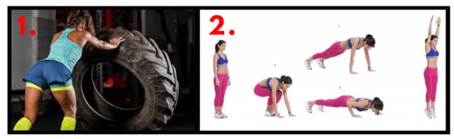 Tire Flip. Burpees. Functional Fitness. HIIT cardio.