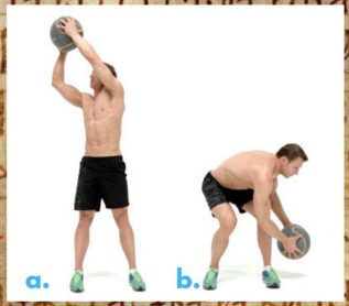 Medicine ball. Wood cutter exercise. Functional Workout.