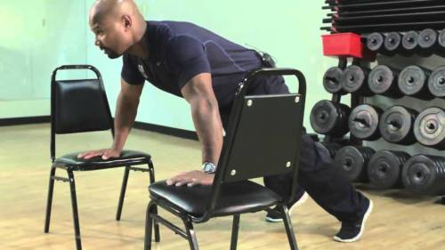 Chair push ups. Train Anywhere. Functional Workout. Incline push ups. Decline push ups.