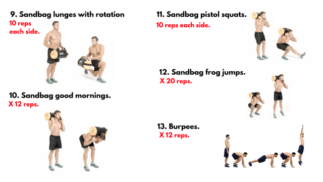 Sandbag Workout. Saviour Workouts. Train anywhere, anytime, no excuses. Functional Training. Super Soldier Project.