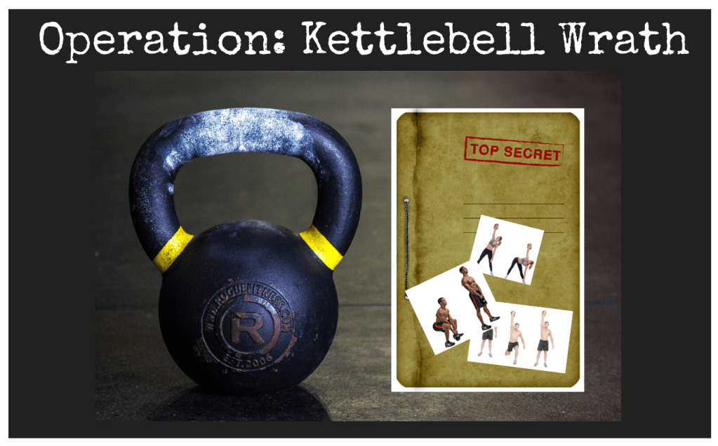 Operation Kettlebell Wrath. Kettlebell Commando Raids. Strength, balance and endurance workouts. Fat burners. AMRAP. EMOM. TABATA. Super Soldier Project.