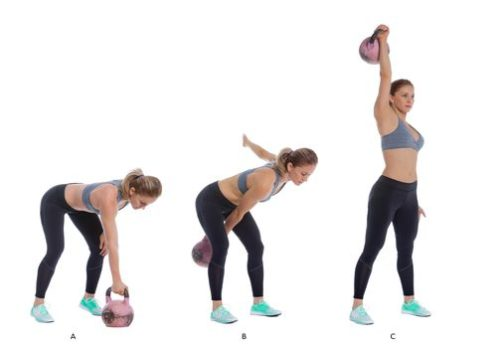 Kettlebell Snatch. Kettlebell exercises. Total body workouts.