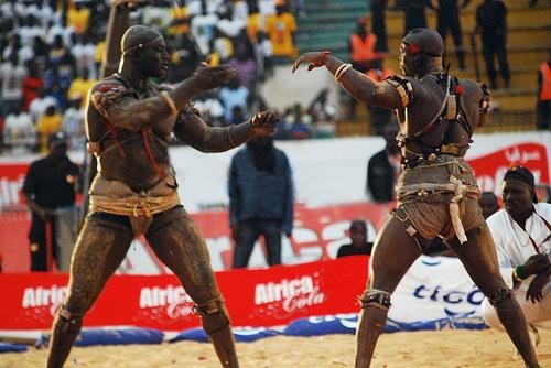 Laamb. Senegalese wrestling. Dakar, Senegal.