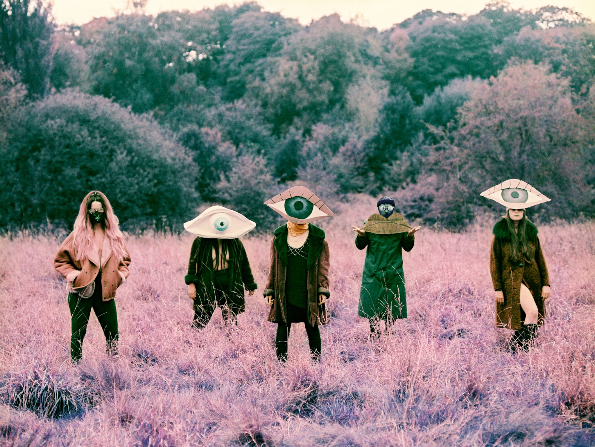 the five members of dorcha stand in a field with abstract costumes