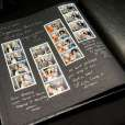 """Black Leather """"Ready to Mount"""" photo-strip Album, complete with gold & silver pens."""