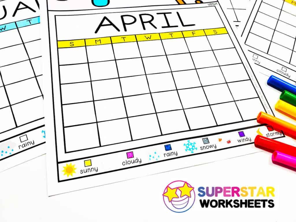 Colorful Weather Calendar