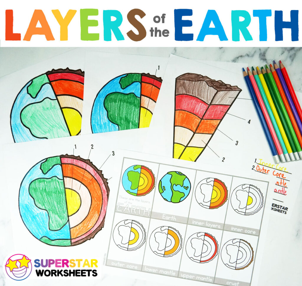 Layers Of The Earth Worksheets