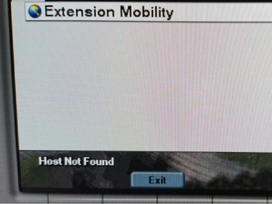 "Things to do when you encounter the ""Host Not Found"" message on your Cisco desk phone when trying to access the corporate directory or extension mobility."