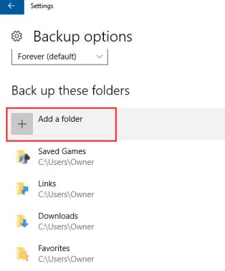 add folder to  backup