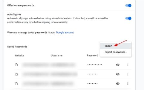 Import chrome passwords