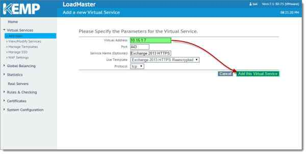 Kemp Virtual Load Balancer Add Virtual Service Using Template B