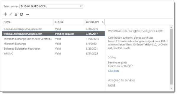 Renewing an Exchange certificate 4
