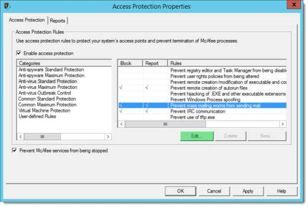 McAfee Access Protection Properties Prevent Mass Mailing Worms from Sending Mail B