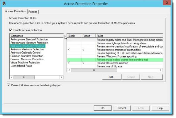 McAfee Access Protection Properties Prevent Mass Mailing Worms from Sending Mail