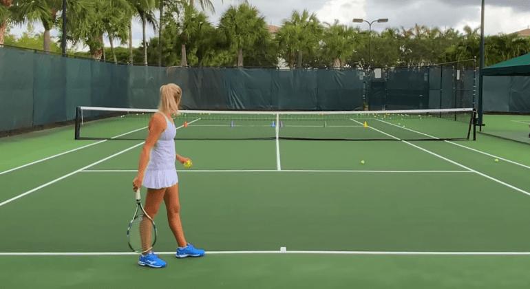 Practicing Tennis Serve