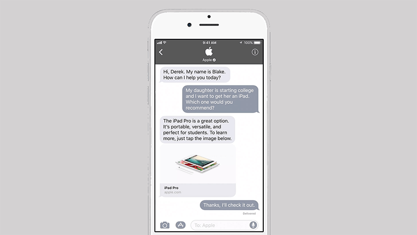 Apple: Messaging para consumidores comunicarem com marcas