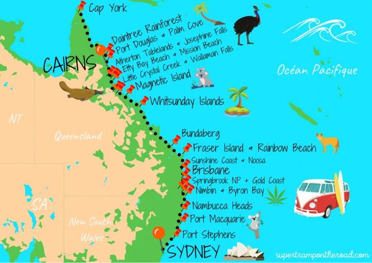carte itinéraire sydney-cairns
