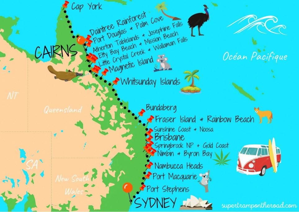 road trip sydney cairns carte itinéraire