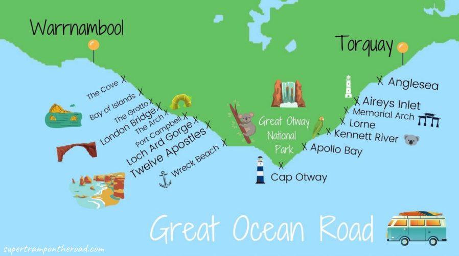 carte itinéraire great ocean road