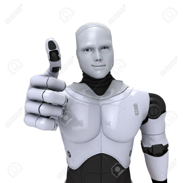 12065683-Silver-android-robot-with-thumb-up-smiling-3d-illustration-on-white-Stock-Illustration